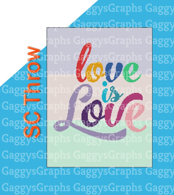 love is Love, SC 180x240, Graph, Written Instructions with color coded blocks