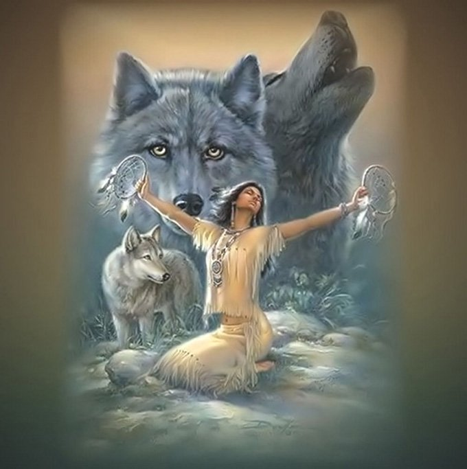 WoLves Indian Maiden Cross Stitch Pattern***LOOK***X***INSTANT DOWNLOAD***