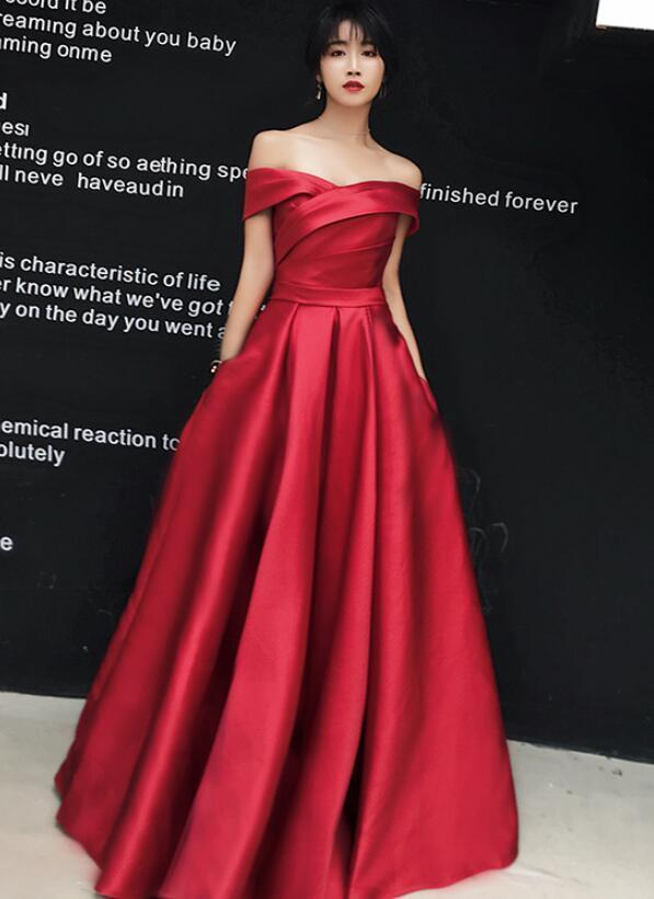 Red Gorgeous Off Shoulder Satin Long Party Gown, Red Prom Dress 2020