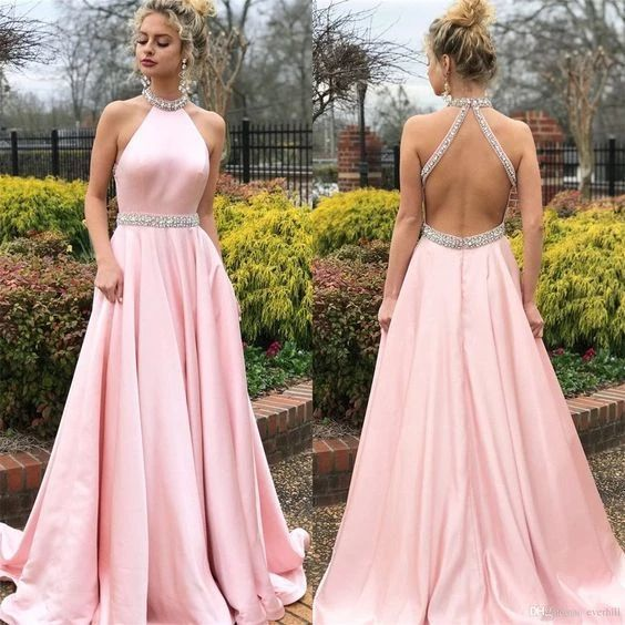 Pink Prom Dress,Satin Prom Gown,Halter Evening Dress,Backless Prom Gown 0162