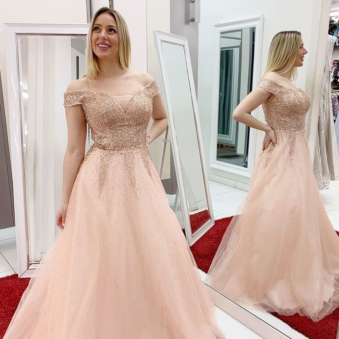Charming Prom Dress,Tulle Prom Gown,Beading Evening Dress,A-Line Prom Gown 0164
