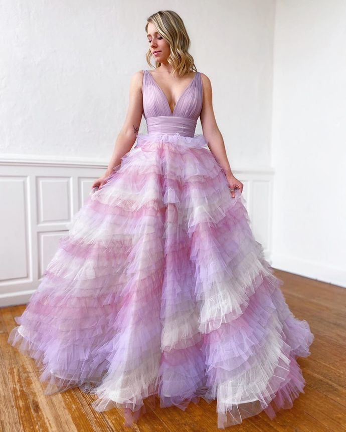 Colorful Prom Dress,Tulle Prom Gown,V-Neck Evening Dress,Pleat Prom Gown 0166