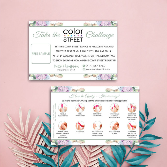 Personalized Color Street Twosie Card, Cactus Color Street Challenge Card CL10