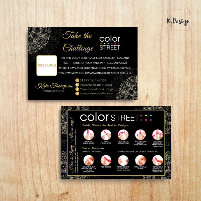 Personalized Color Street Twosie Card, Gold Mandala Color Street Challenge Card