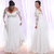 Long Sleeves Plus Size Wedding Dresses With Deep V-neck Applique Beach country