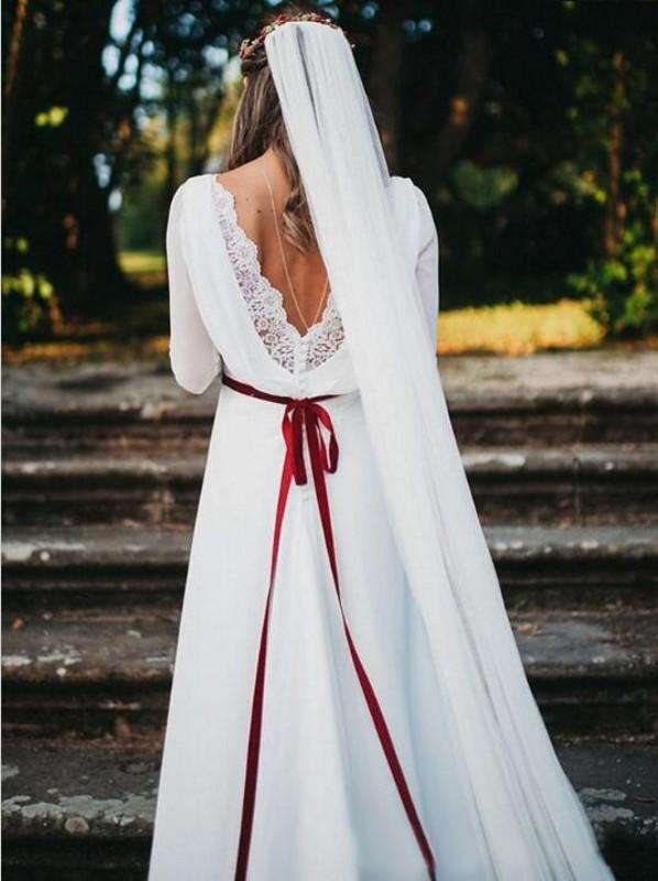 Plus Size Wedding Dresses Bridal Gowns 2020 Beach Bohemian White Long Sleeves