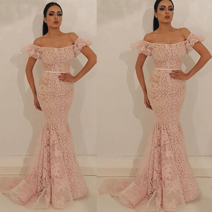 pink lace evening dresses long mermaid elegant short sleeve modest cheap formal