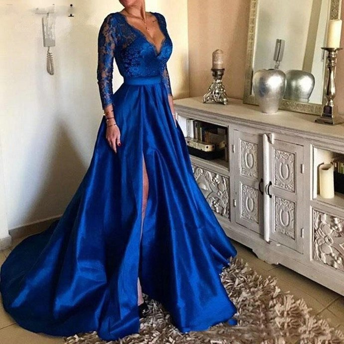 deep v neck prom dresses long sleeve elegant royal blue lace appliqué cheap