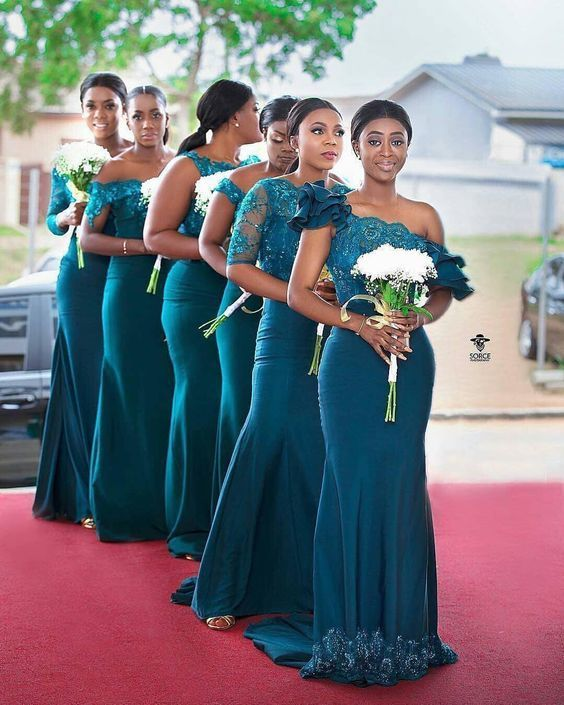 teal green bridesmaid dresses long mermaid lace applique beaded sleeveless cheap