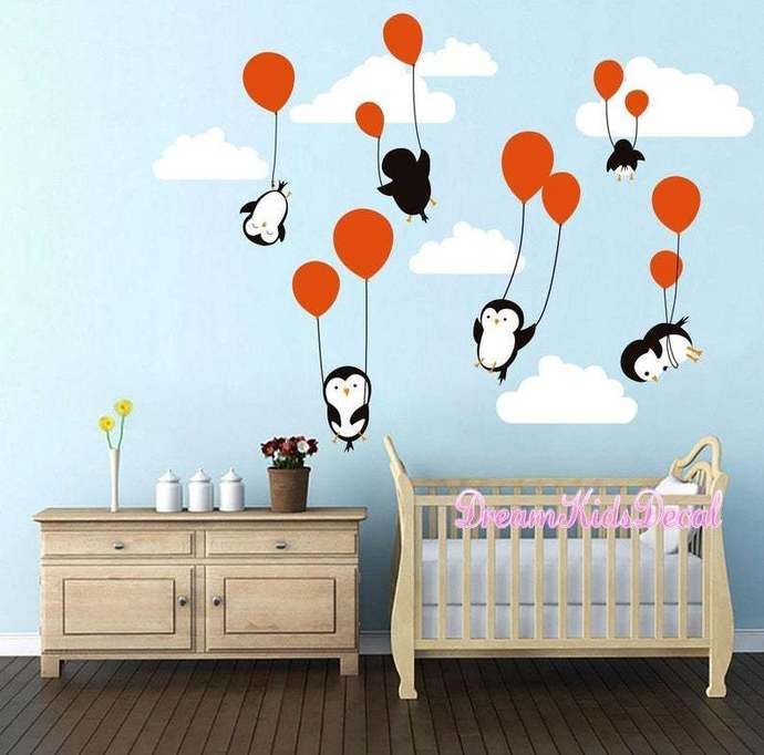 Penguins Penguin Cloud Balloon Wall Decal, Wall Decals Nursery, Baby Wall Decal,