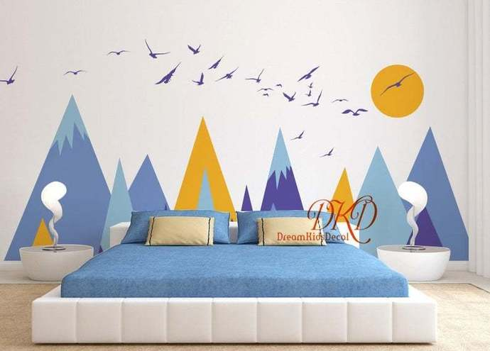 Mountain Wall Decal for Kids Room, Mountain Wall Sticker Mountain Mural, Nursery