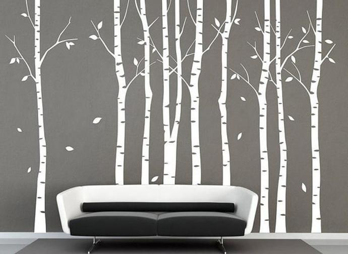 Tree wall decal 9 birch trees decals forest wall decals winter tree wall decal