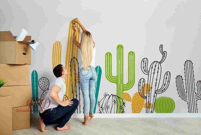 Cactus Wall Decals, Nursery Wall Decals, Large Wall Mural, Tropical Palm leaf