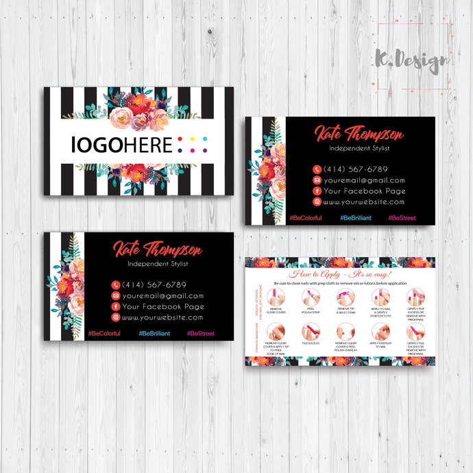 COLOR STREET BUSINESS CARDS, PERSONALIZED COLOR STREET APPLICATION CARDS CL13