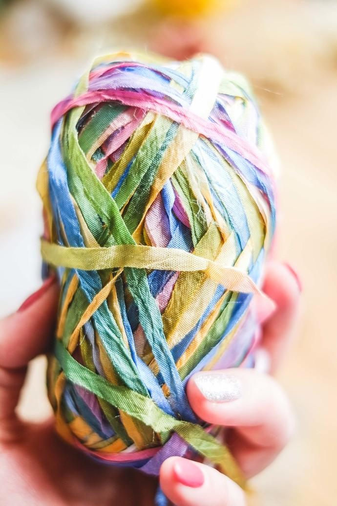Colourful ribbon yarn - delicate fancy wrapping yarn