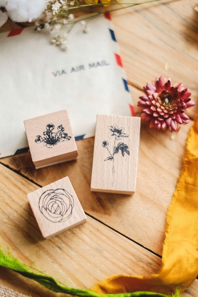 London Gifties design wooden rubber stamps - Spring Blooms