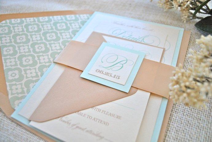 Reserved Listing for Eboni-  Blue, Ivory, Taupe Wedding Invitation, Mint,