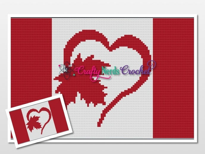 Canadian Flag Heart Pattern Graph With Mini C2C Written