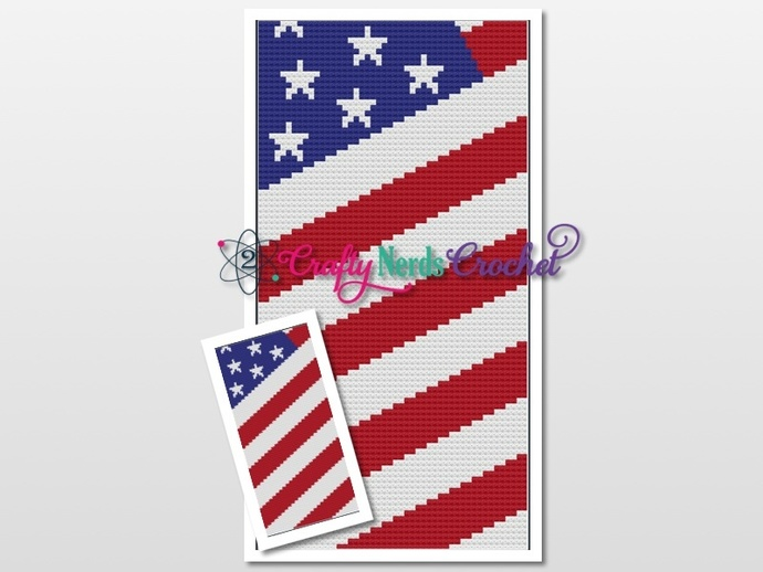 American Flag Pattern Graph With C2C Written