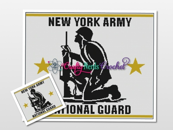NY Army National Guard landscape Pattern Graph With Single Crochet Written