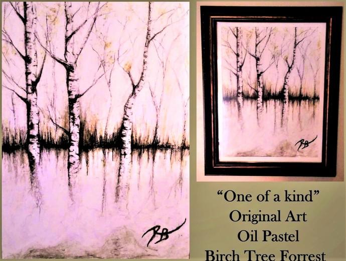 Birch tree art - birch trees - Pastel - Original Art - nature art, cabin decor -