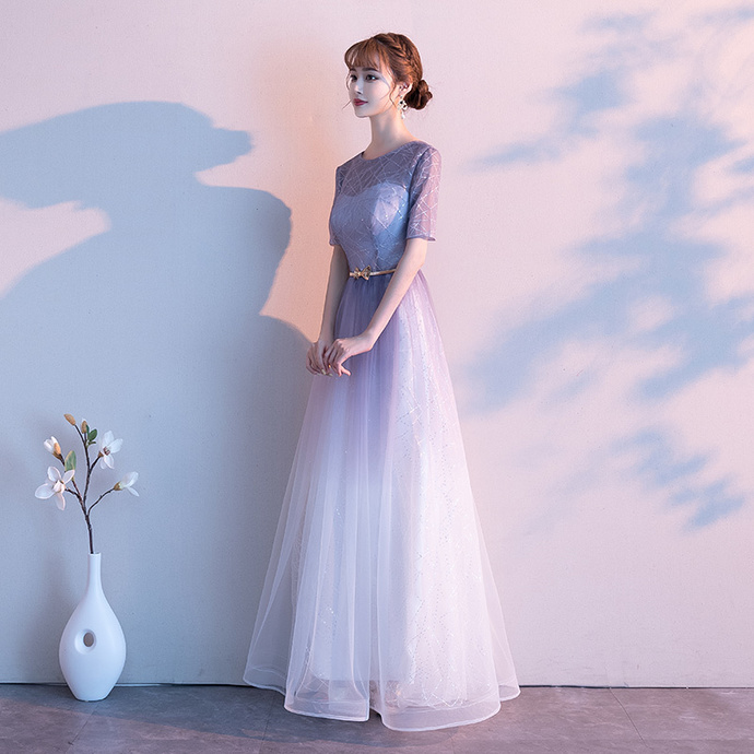 Beautiful Gradient Tulle Short Sleeves Party Dress, A-line Prom Dress 2020