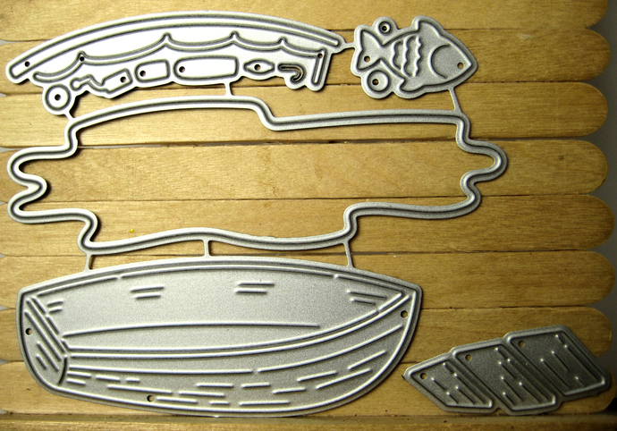 Water Row Boat Fishing Pole and Fish Cutting Dies