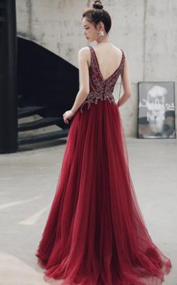 V-Neck A-Line Prom Dresses,Long Prom Dresses,Cheap Prom Dresses, Evening Dress