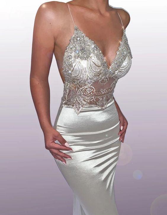 Mermaid silver v neck sexy long prom dress F7040