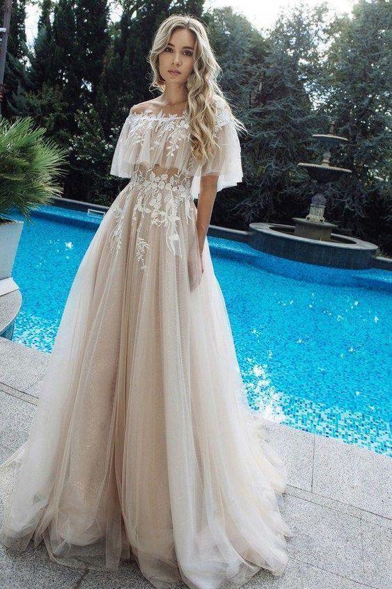 Long beach wedding dress Prom Dress F7041