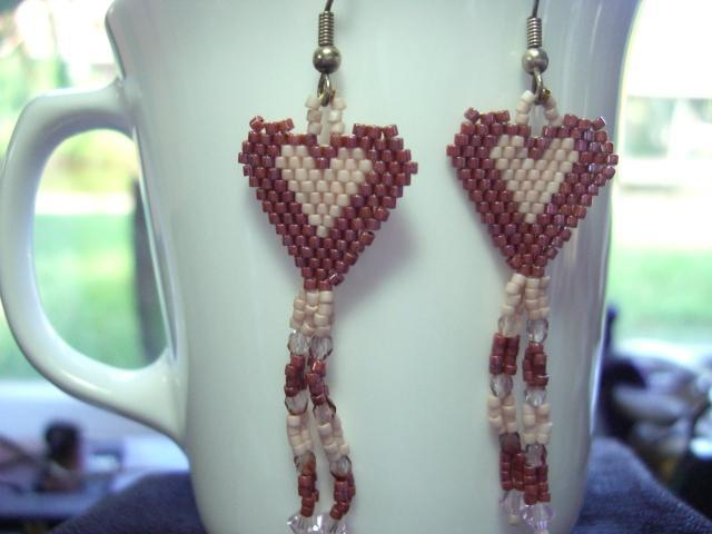 Burgundy Heart Dangle Earrings - Glass Beads