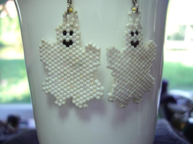 BOOooooo Ghost Earrings Handwoven with Glass Seed Beads