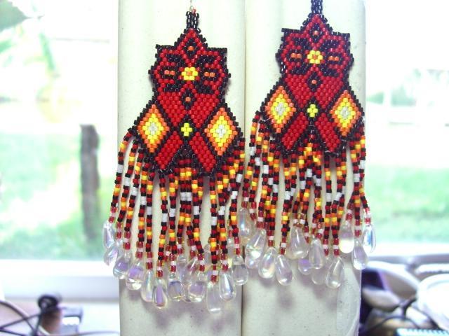 Fancy Dancer Eye Catching Glass Beaded Earrings