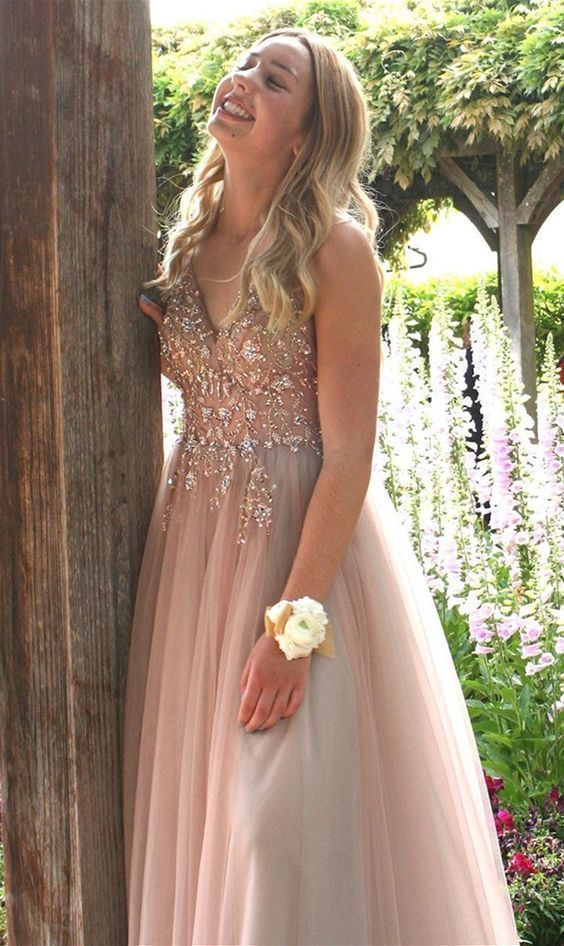 pretty blush long prom dresses, sexy v neck prom gowns, luxury beading party
