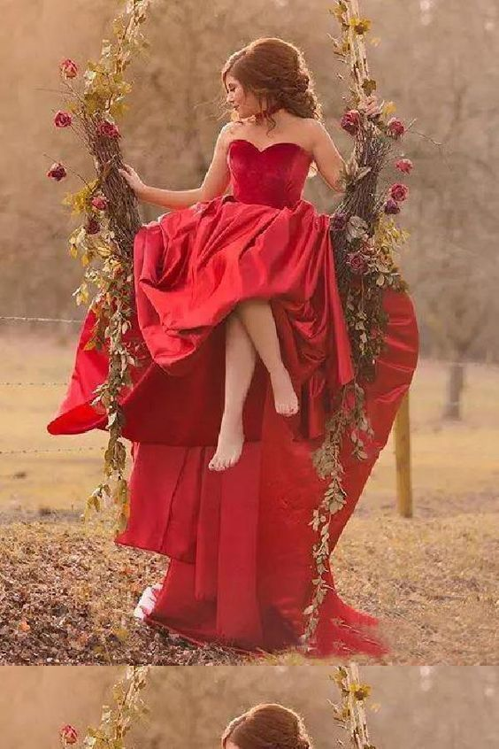 Glorious Simple, Red, A-Line, Ball Gown F7052