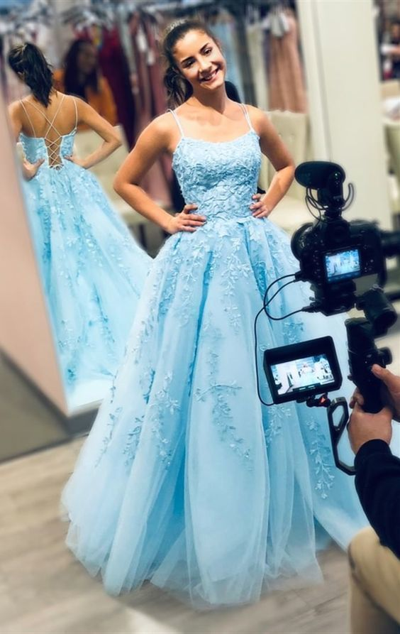 formal blue long prom dresses, chic lace prom gowns, ball gown graduation party