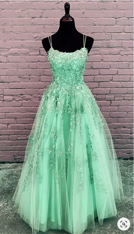 Elegant Prom Dresses Ball Gown Tulle Floor Length Lace Embroidery F7054