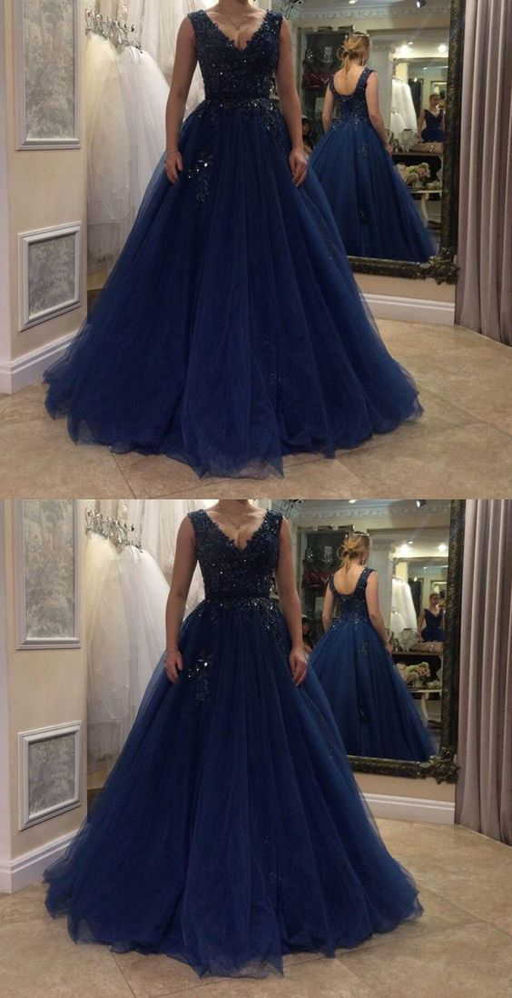 V neck navy blue prom dresses with appliques F7055