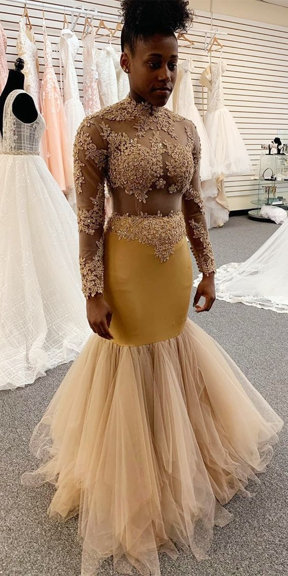 Mermaid Gold Formal Dress with Illusion Top F7056