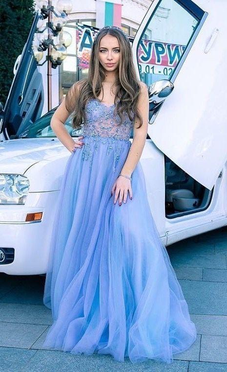 A Line Spaghetti Straps Blush Long Prom Dress With Beading Split F7073
