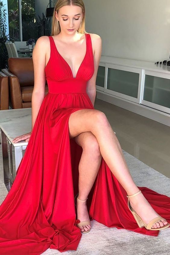 Red Long Dresses, Simple Red Formal Dress F7082