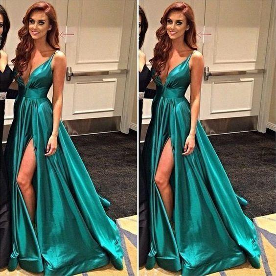 Sexy prom dress, long prom dress, slit simple prom dresses, fashion dress,