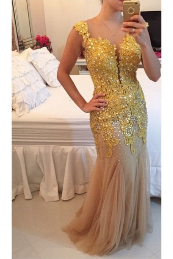 Gold Lace Appliques See Through Back Long Prom Dresses Evening Gowns F7093