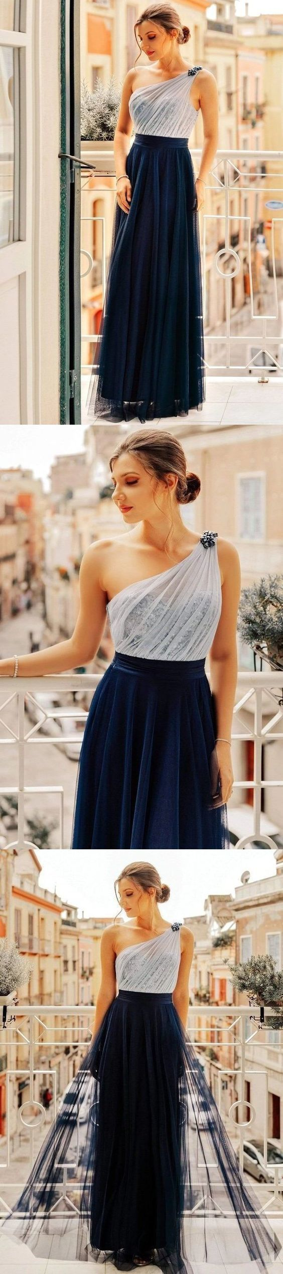 Flowy One Shoulder Navy Blue Tulle Long Prom Dresses, Cheap Formal Dresses F7100