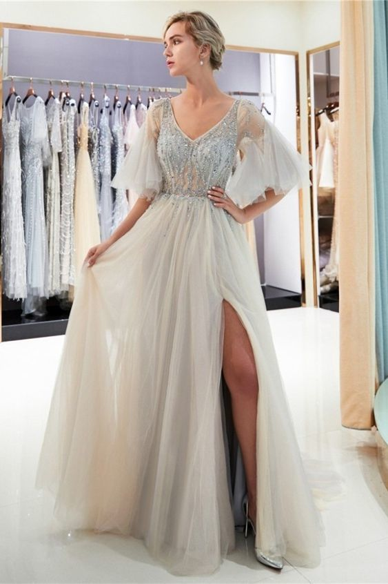 Princess V Neck Cap Sleeve Sheer Bodice Side Slit Crystal Beaded Grey Tulle Maxi