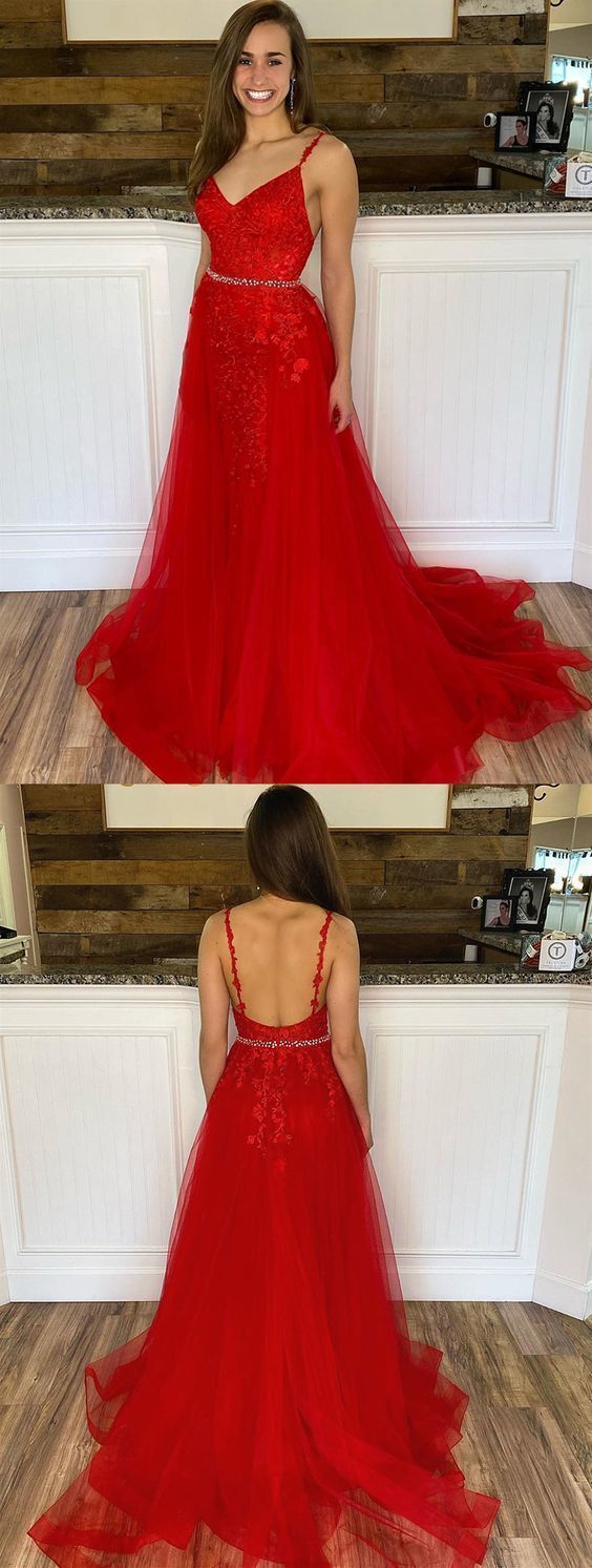 V Neck Red Mermaid Lace Prom Dresses, Red Mermaid Lace Formal Evening Dresses