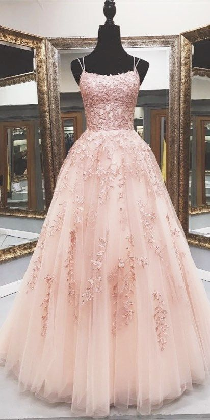pink lace appliqued long prom dress, floor length prom dress 2020 F7105