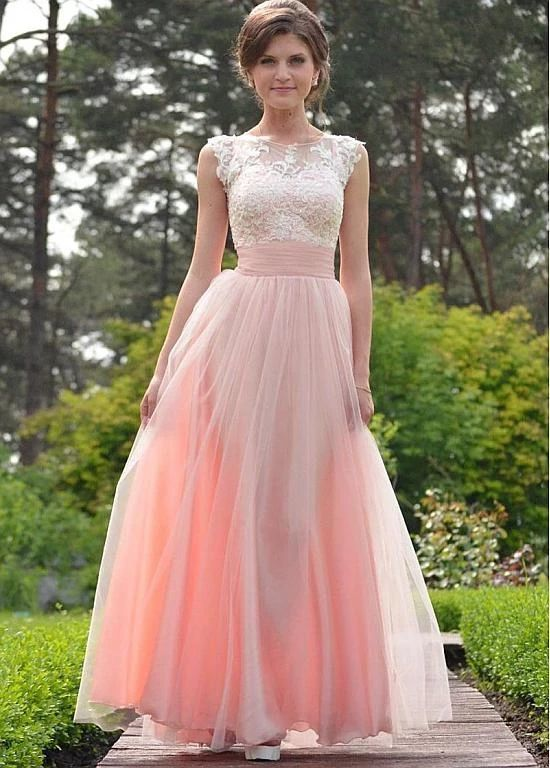 Tulle Jewel Pink Belt Appliques Floor-length A-line Prom Dress F7109