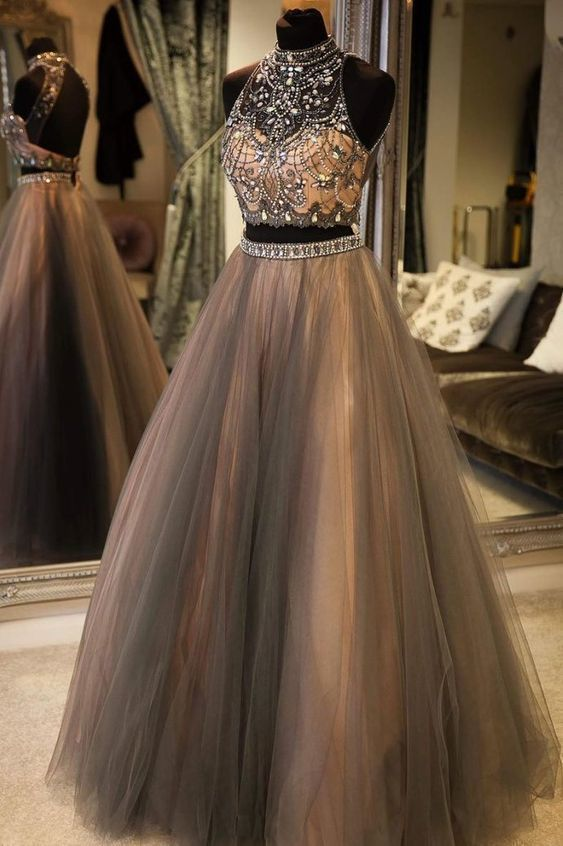 two piece prom dresses long high neck gray beaded crystals elegant sleeveless