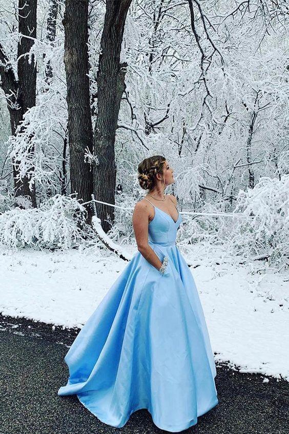 Blue Prom Dresses, Long Prom Dresses for Teens F7115